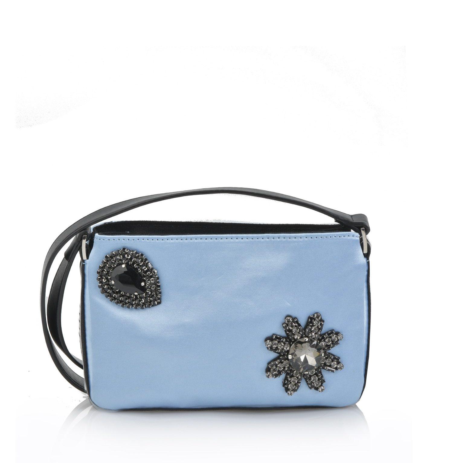 Mini pinko bag con aplicaciones joya y correa