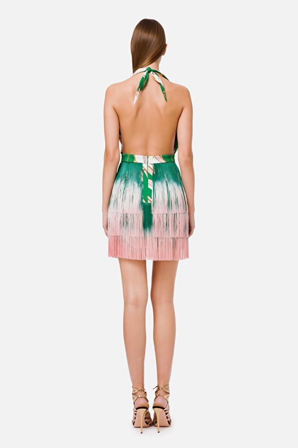 Vestido corto de seda con flecos