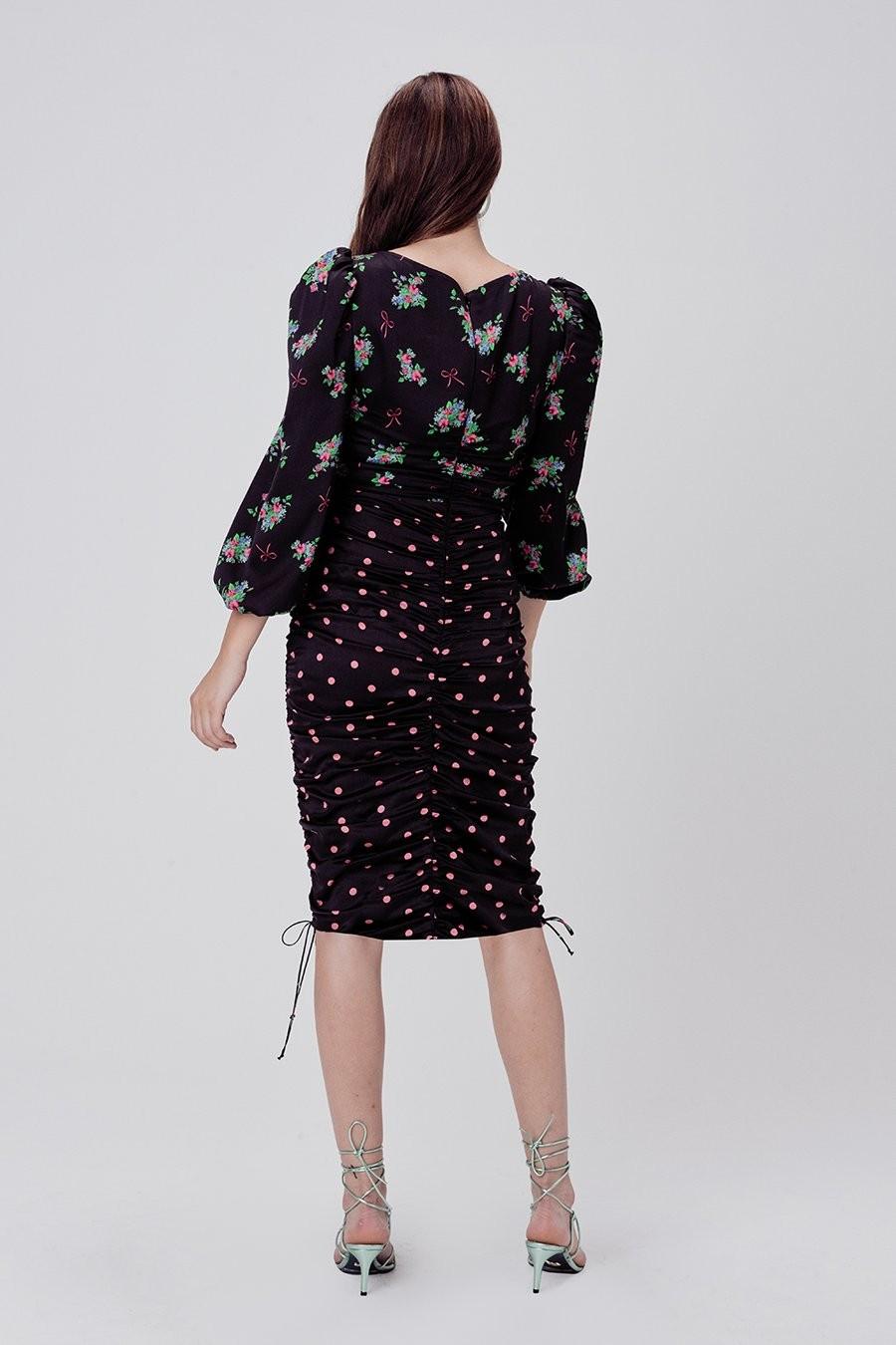 Wilson print mix midi dress
