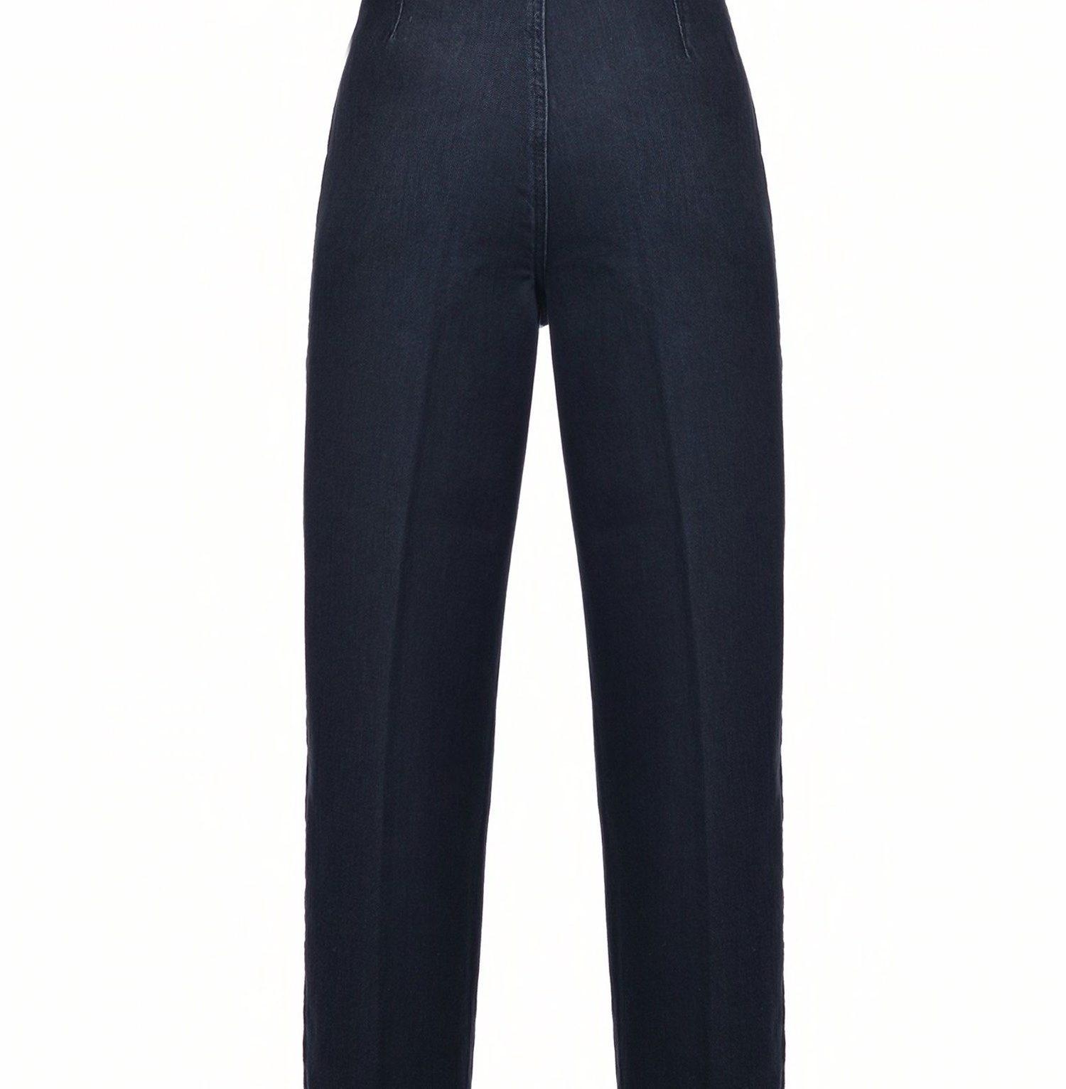 Pantalón de tejido vaquero con cinturón efecto piel