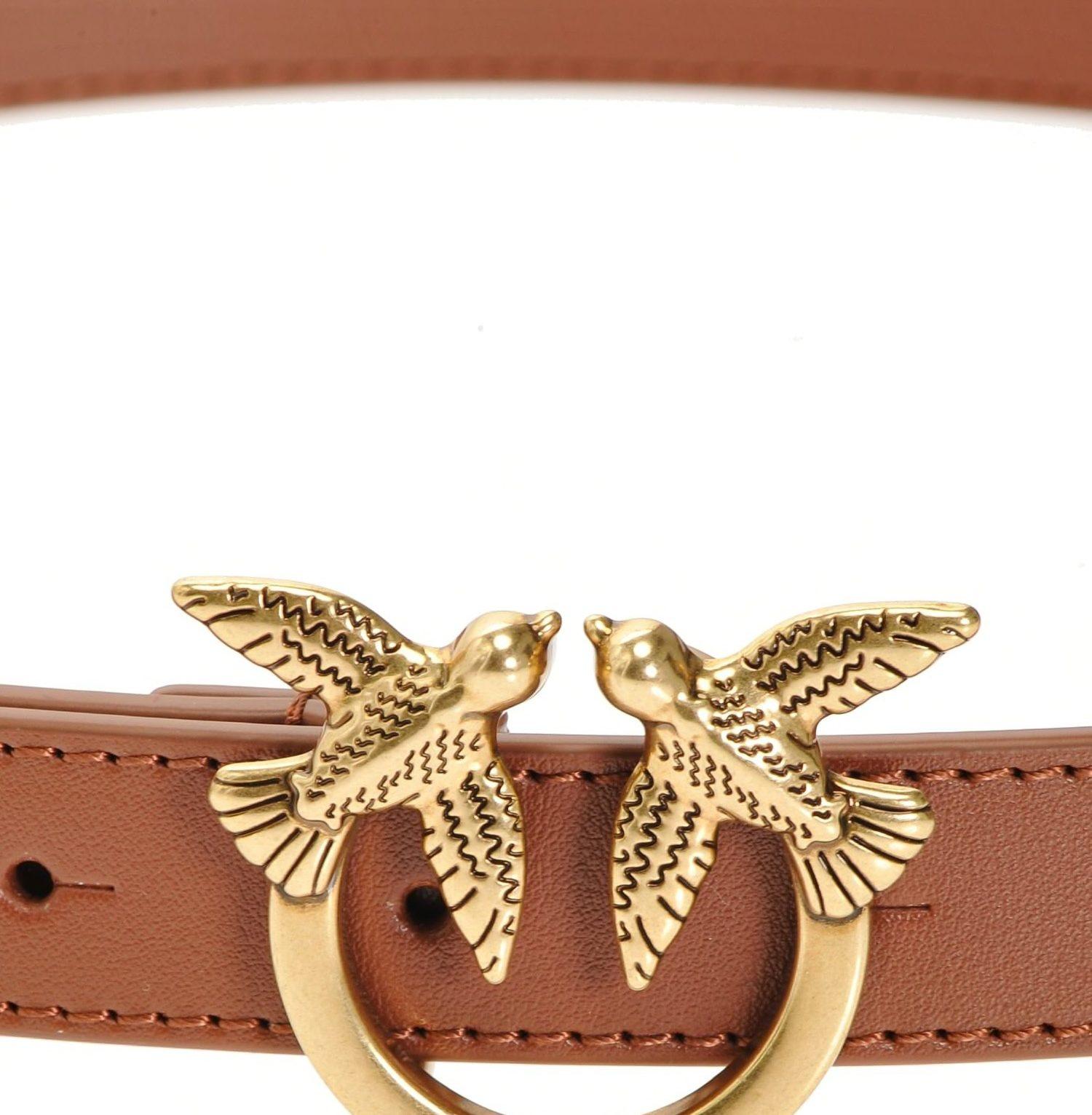 Cinturón pequeño de piel con hebilla Love Birds