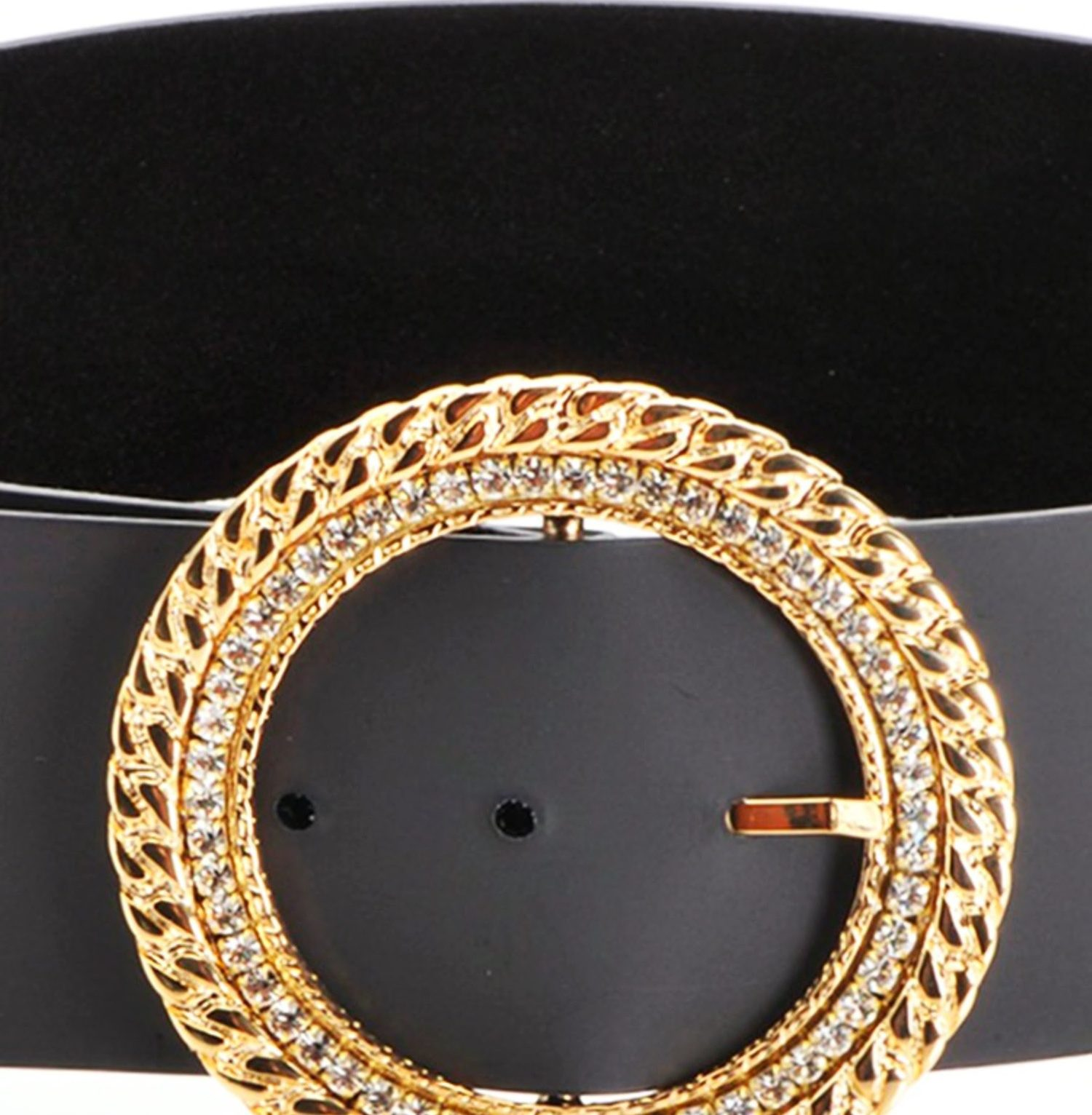 Cinturón de ante con hebilla circular